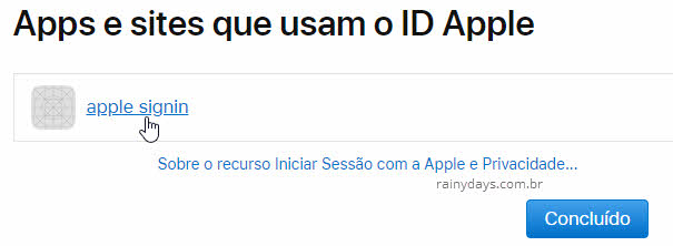 clique no aplicativo ou site para desautorizar o ID Apple