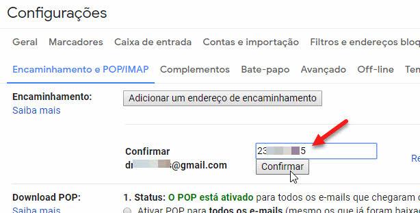 código para confirmar e encaminhar emails automaticamente no Gmail
