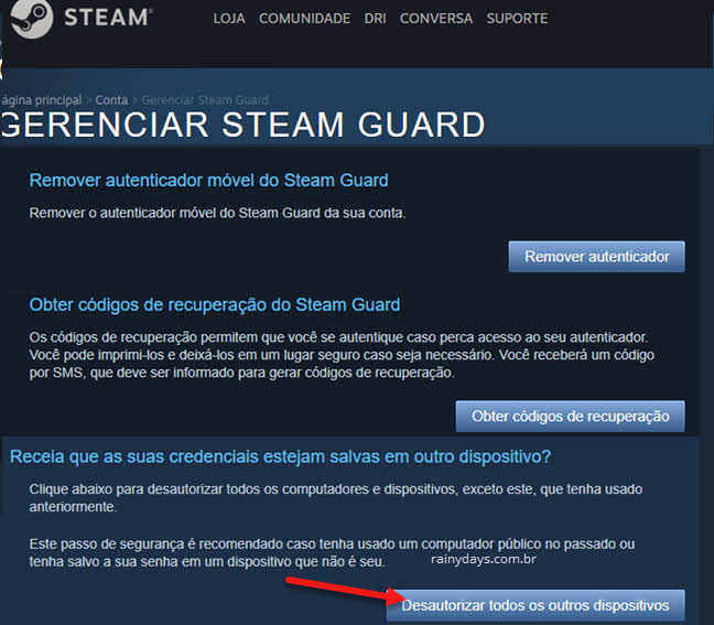 Como deslogar Steam de outro PC remotamente