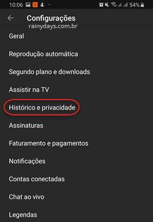 configurações Histórico e Privacidade aplicativo YouTube