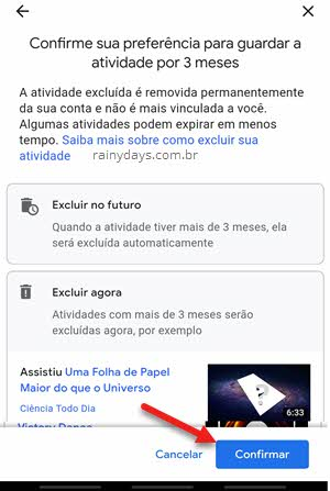 Confirmar guardar atividades por 3 meses YouTube Google