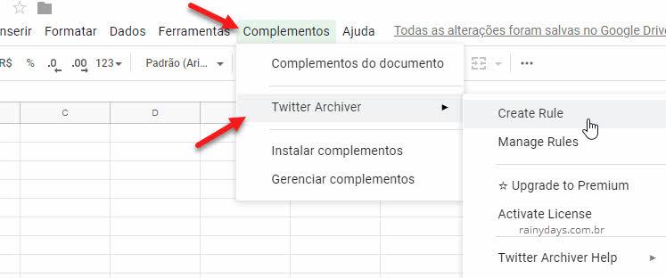 Criar regra para monitorar e salvar tweets em planilhas Twitter Archive