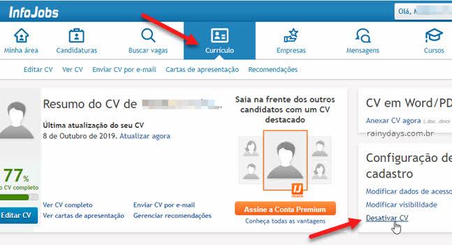 Desativar CV currículo no InfoJobs excluir