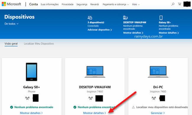 Detalhes de dispositivos logados na conta Microsoft