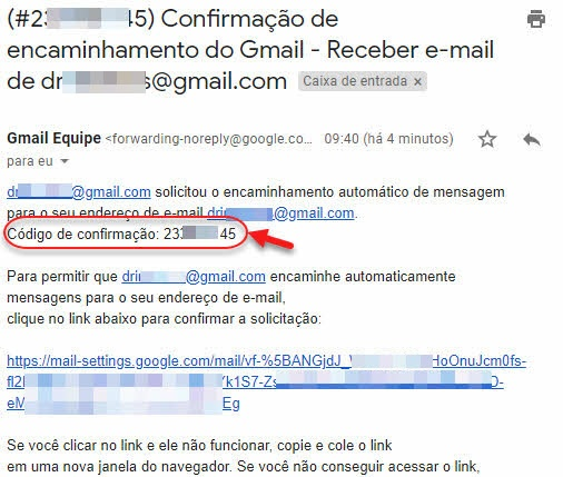email confirmação de encaminhamento do Gmail código