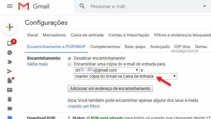 Email de encaminhamento para encaminhar emails automaticamente no Gmail
