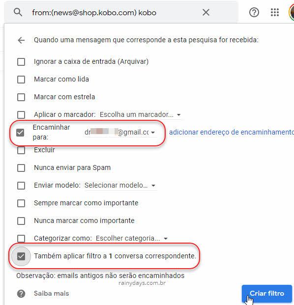 Encaminhar mensagem para outro email Criar filtro Gmail