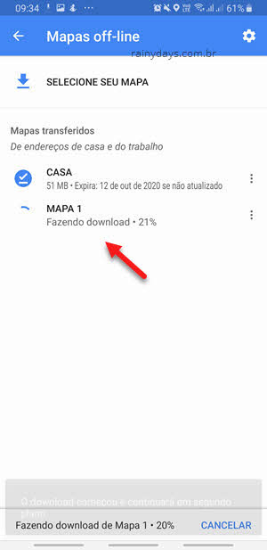 Fazendo download mapa off-line Google Maps