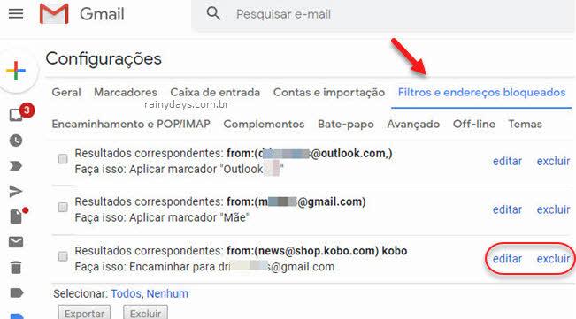 Filtros e endereços bloqueados editar excluir filtro Gmail