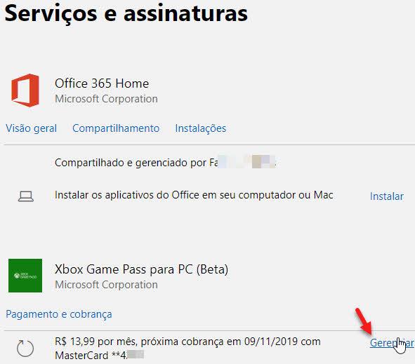 Gerenciar Pagamento e cobrançca assinatura Xbox Game Pass Microsoft