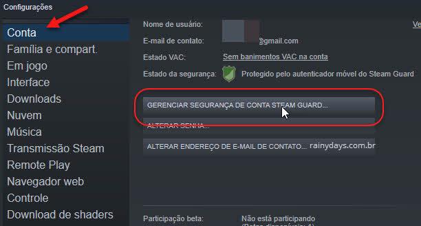 Gerenciar segurança de conta Steam Guard do cliente Steam