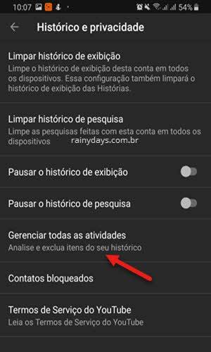 Gerenciar todas as atividades app YouTube