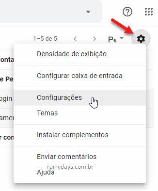 ícone engrenagem configurações do Gmail