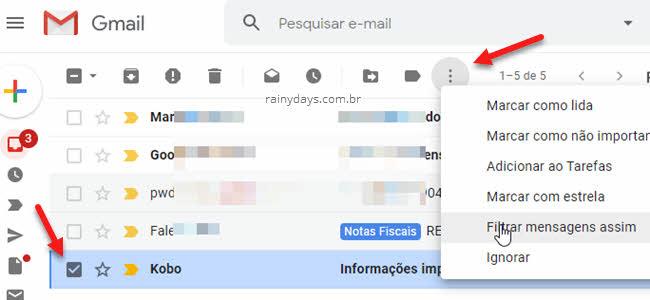 ícone três bolinhas Filtrar mensagens assim Filtro Gmail