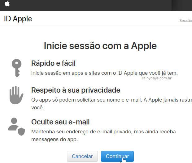 Inicie sessão em aplicativos e sites com ID Apple