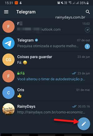 lápis criar nova mensagem Telegram