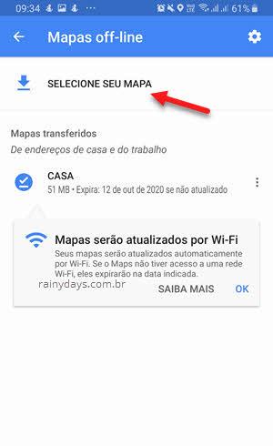 Mapas Offline selecione seu mapa Google Maps