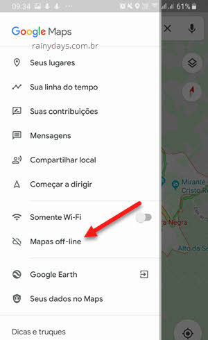 Menu da esquerda Mapas Off-Line Google Maps