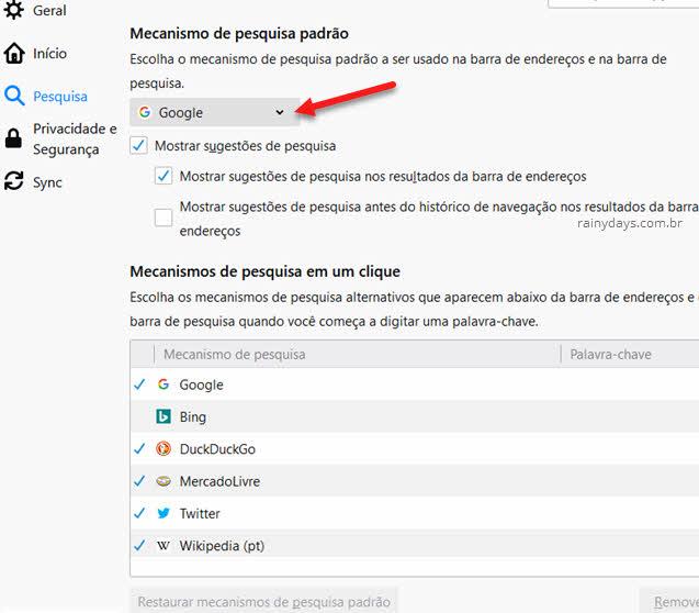 Mudar mecanismo de busca padrão do Firefox