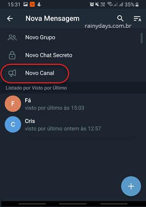 Novo canal no Telegram