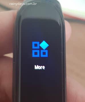 opção More na pulseira Mi Band 4 Xiaomi