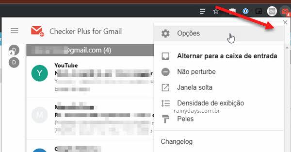 Opções da extensão Checker Plus do Gmail Chrome
