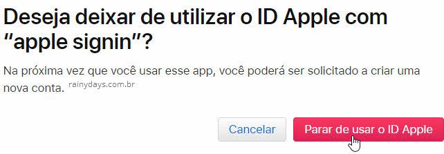 Parar de usar o ID Apple revogar permissão
