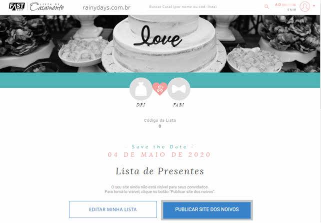 Publicar site dos noivos Lista de Casamento FastShop