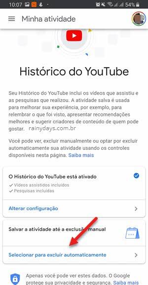 Selecionar para excluir automaticamente Histórico YouTube Google