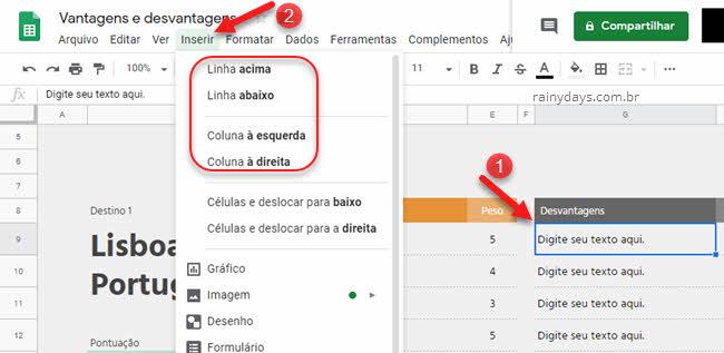 Como adicionar colunas e linhas no Planilhas Google