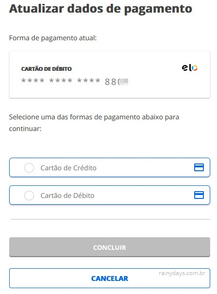 Atualizar dados de pagamento assinatura conta Globo, débito, crédito, boleto