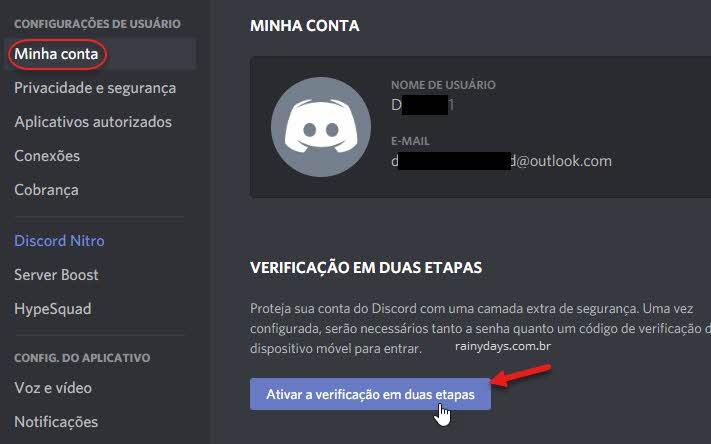 Como ativar verificação em duas etapas no Discord