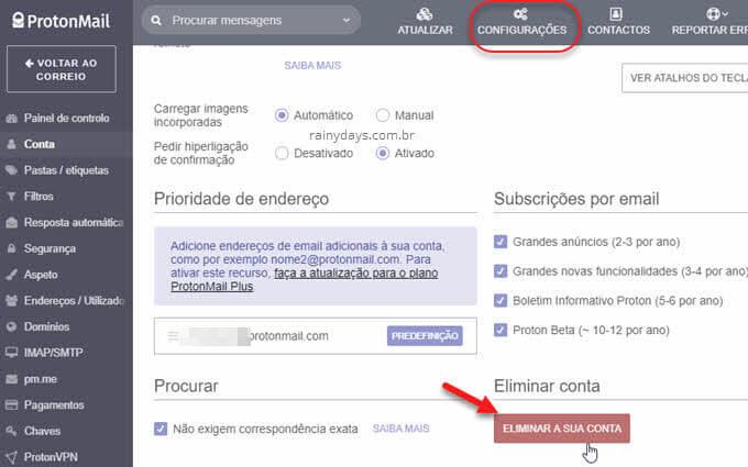 Como excluir conta do ProtonMail permanente cancelar