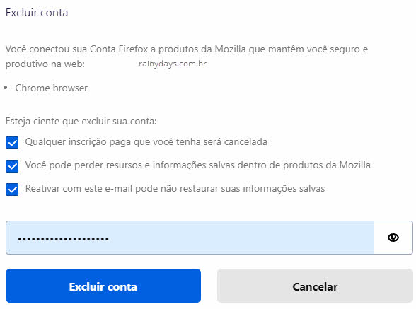 Como excluir conta Firefox Mozilla