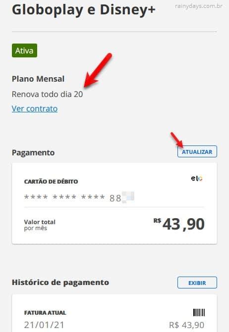 Como saber vencimento da GloboPlay, alterar forma de pagamento