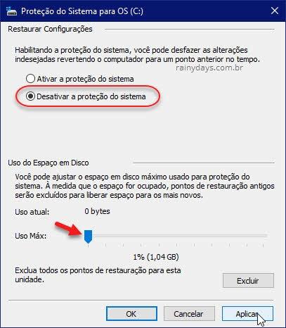 Desativar a proteção do sistema Restauração Windows