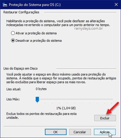 Excluir pontos de restauração para esta unidade Windows
