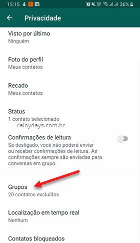 Privacidade grupos do WhatsApp