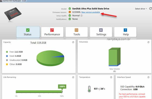 atualizar SSD SanDisk
