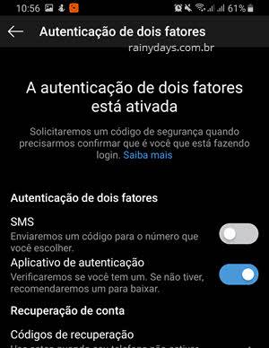Autenticação de dois fatores por SMS ou aplicativo autenticação Instagram