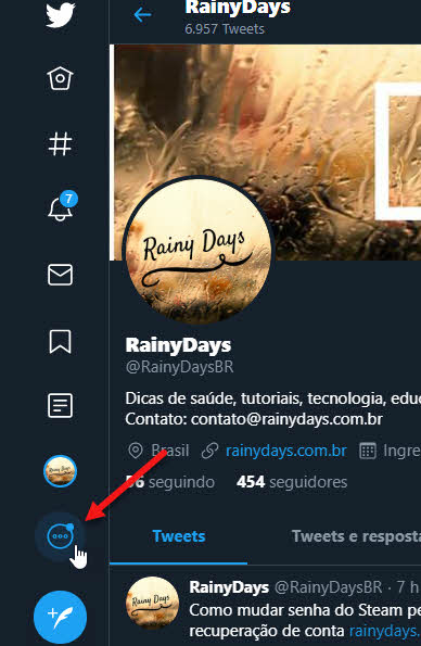 Botão três bolinhas site Twitter menu lateral