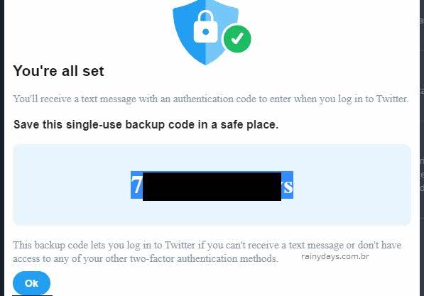 código de backup para login Twitter duas etapas