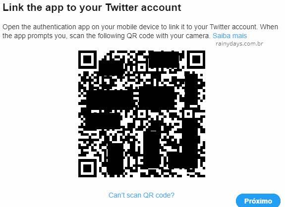 código QR para adicionar app gerador de código no Twitter duas etapas