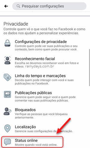 Configurações privacidade Status online Facebook app celular