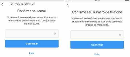 Cofnirmar email e telefone de login Instagram hackeado