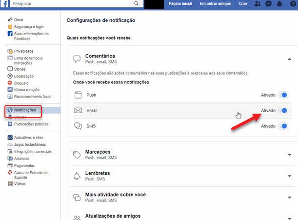 Desativar email específicos de notificações do Facebook