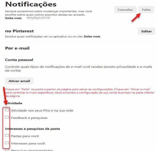 Desativar notificações por email do Pinterest pelo PC