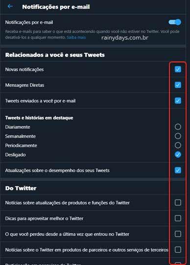 Desativar notificações por email no Twitter pelo PC