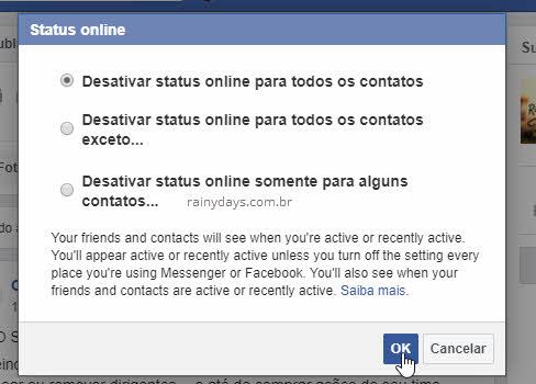 Desativar status para não mostrar que estou online no Messenger e Facebook