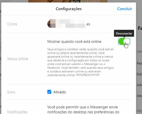 Desconectar status online mostrar que esta online Messenger web
